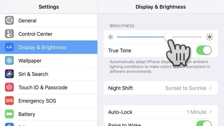 ​Change iPhone screen brightness