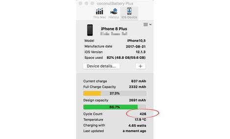 My iPhone's battery has undergone 426 recharge cycles.