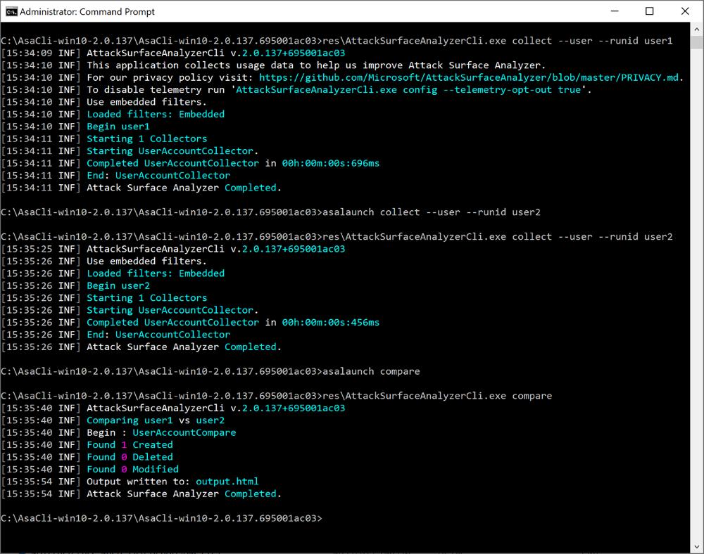 Attack Surface Analyzer 2.0 CLI