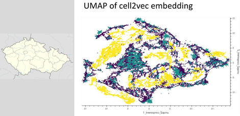 Umap scatter plot compared to a map of the Czech Republic.