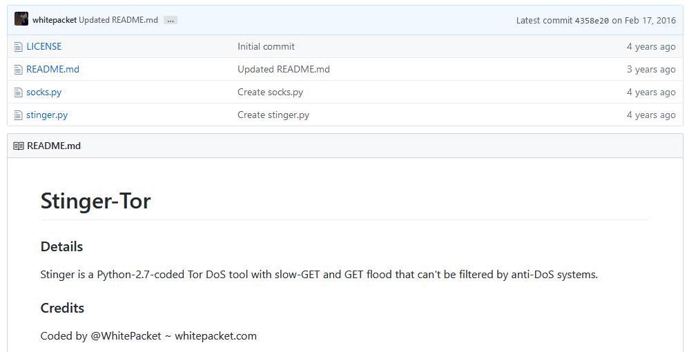 Stinger-Tor DDoS tool