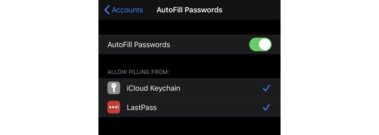 Password AutoFill and third-party password managers