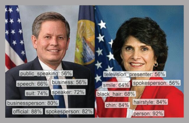Google's AI image recognition service tended to see men like senator Steve Daines as businesspeople, but tagged women lawmakers like Lucille Roybal-Allard with terms related to their appearance.