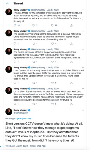"""A <a href=""""https://twitter.com/kerrymuzzey/status/1215314324077436929"""">long (35 posts) Twitter thread</a> from Muzzey when he was in the thick of learning about CCTV's approach to copyright."""