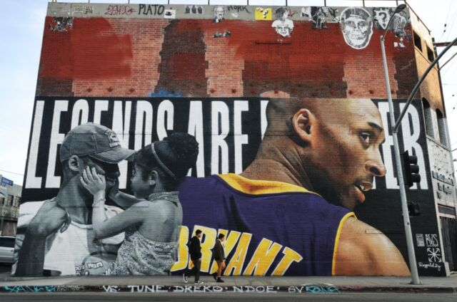 Mural by street artist Royyal Dog in tribute to Kobe Bryant and his daughter Gianna at the Container Yard on East 4th Street, Los Angeles.