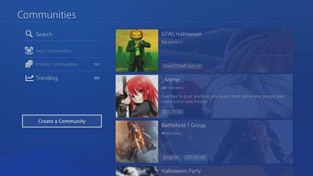 A few examples of PS4 Communities that were available before their shutdown last week.
