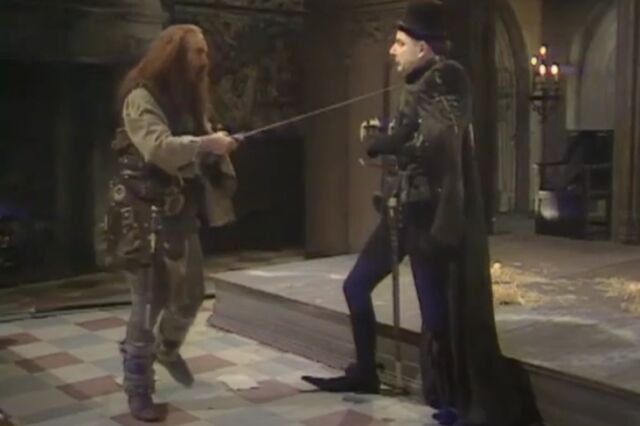 Rowan Atkinson's Edmund Blackadder routinely wore dramatically pointed shoes in <em>The Black Adder</em>, the first season of the British series, set in medieval England.
