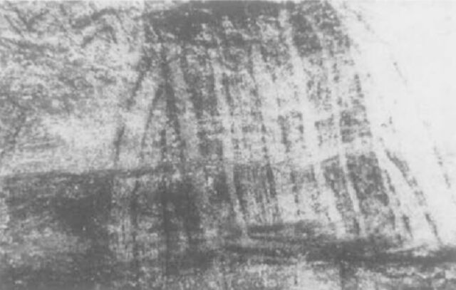 """La Mouthe: (left) Painted etching of a hut (or an animal trap). Edward Wachtel found that a moving, flickering light source would cause the colors of the hut to change, and the animals around it to appear and disappear. (right) A sketch shows """"spaghetti lines"""" over various animals"""