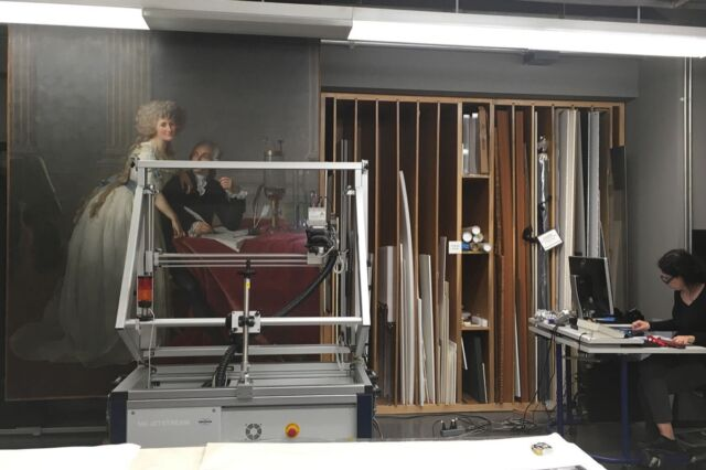 Research scientist Silvia A. Centeno acquiring X-ray fluorescence maps of David's portrait of the Lavoisiers.