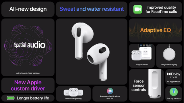 A list of features found in the third-generation AirPods, courtesy of Apple.